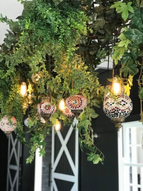 hanging greenery with morrocan lanterns