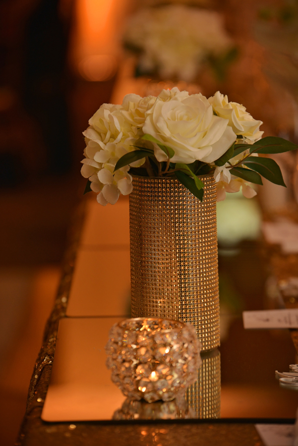samantha-&-callum-easts-leagues-club-wedding-reception-styling-gold-sequin-bridal-table-linen-mirror-runner-gold-mesh-vase-diamante-tealight-votives