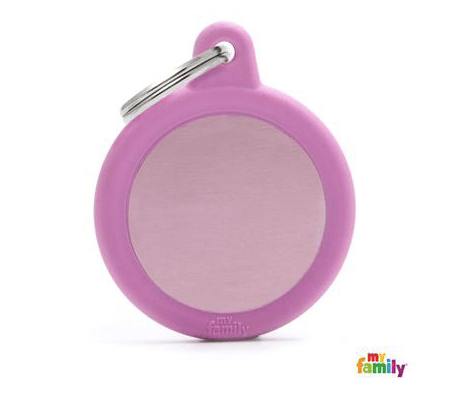 picture of pink round hushtag name tag