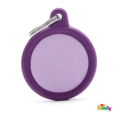 picture of purple round hushtag name tag