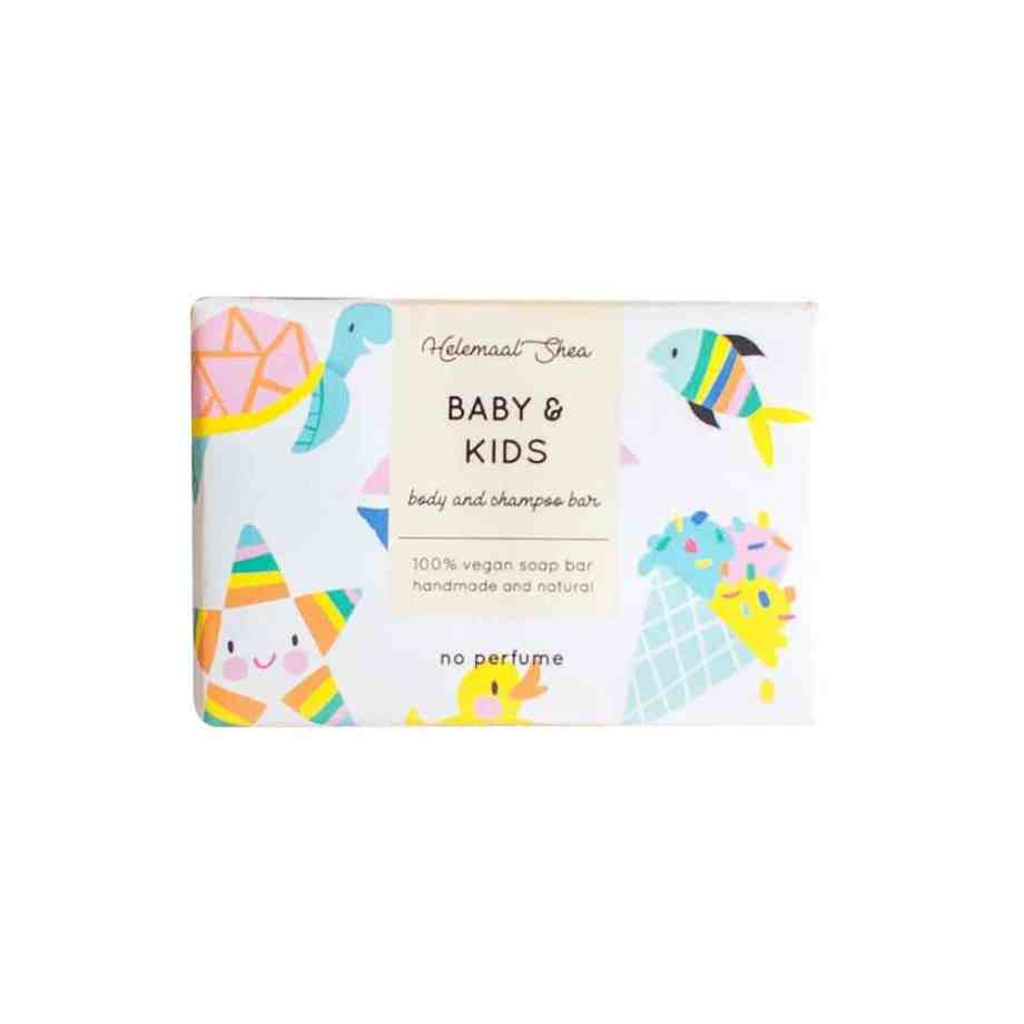 HelemaalShea Baby & Kids Body and Shampoo Bar hajusteeton palasaippua lapsille
