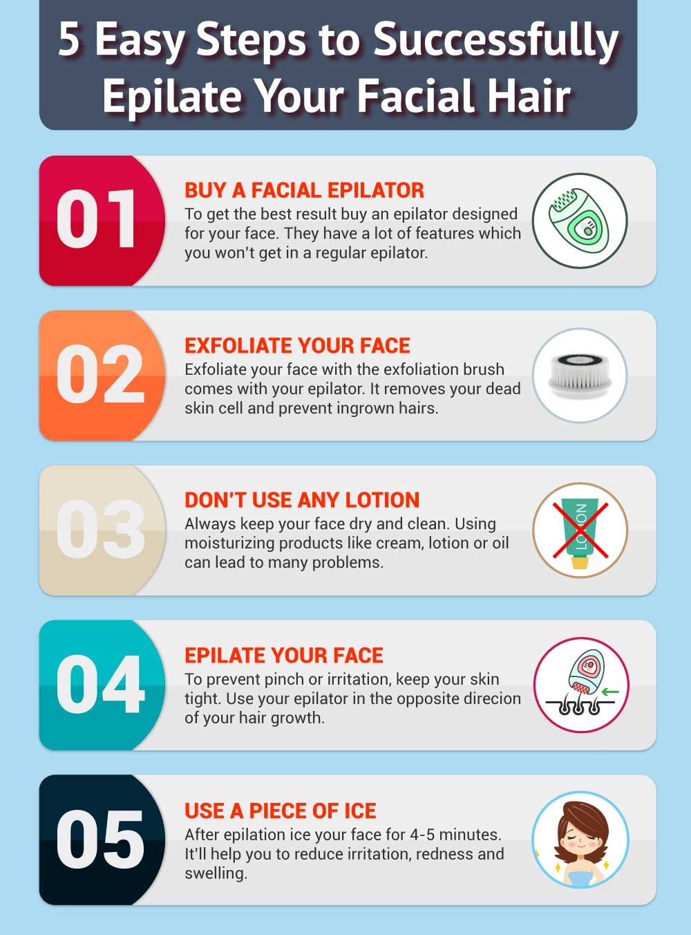 5 easy steps to epilate your facial hair