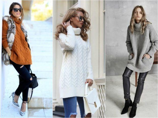 c38308dd5dc7 Nadmerný štýl svetre majú objemný vreckový štýl a rôzne pletenie s alebo  bez vzoru. Dizajnéri odporúčajú kombinovať túto módnu položku so sukňou  alebo ...