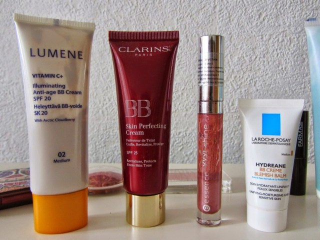 makeup lumene vitamin c illuminating bb cream; clarins bb skin perfecting cream; la roche-posay hydreane bb creme