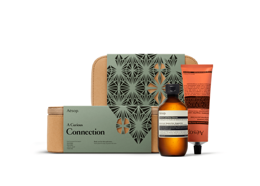 Aesop A Curious Connection, S$75; Geranium Leaf Body Cleanser (200ml); Rind Concentrate Body Balm (120ml)