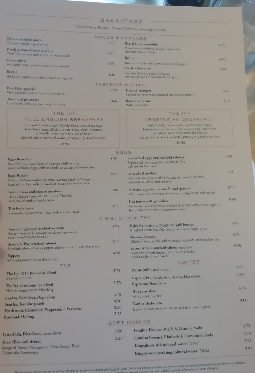 The Ivy Cheltenham Breakfast Menu