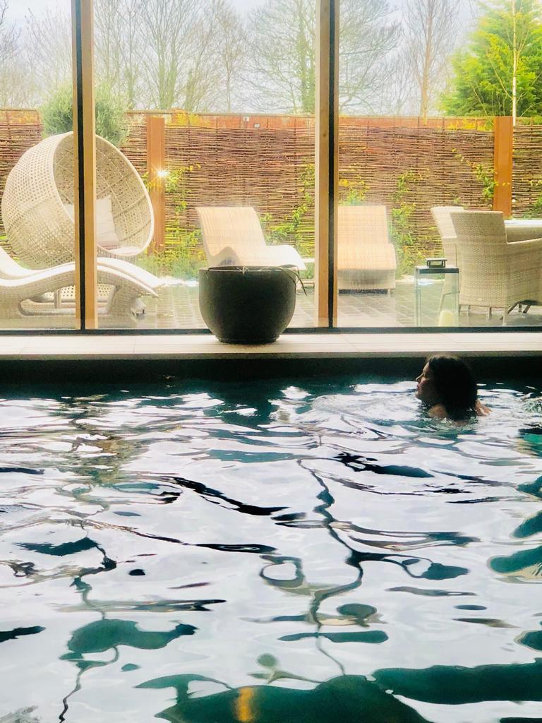 Sarah swimming at the Spa