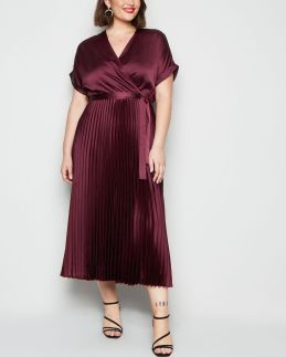 curves-burgundy-satin-pleated-midi-dress