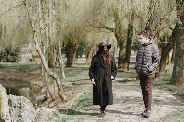 Socially distanced couple on a walk