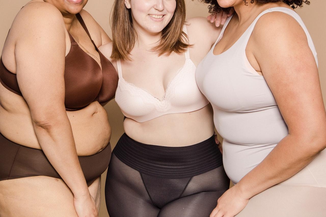 3 women in bras and knickers