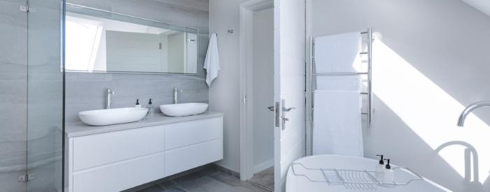 white modern bathroom blog header
