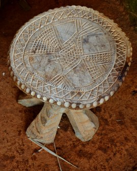 carved wooden stool