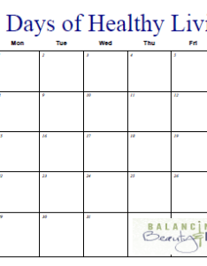 It   also printable fitness calendar days of healthy living balancing rh beautyandbedlam