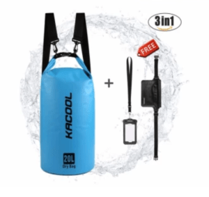 USA KACOOL Portable & Outdoor 20L Waterproof Dry Bag Set with Free Water Proof Phone Case and Waist Bag