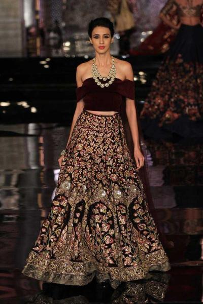 Off Shoulder Bridal Lehenga Designs