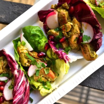 Healthy Tomatillo Chicken Lettuce Wraps
