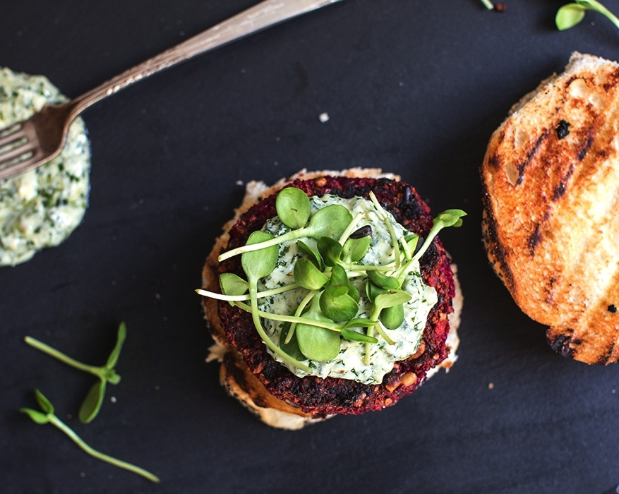 farro+++beet+burgers+with+chimichurri+yogurt+|+what's+cooking+good+looking