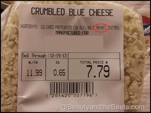 Blue cheese label with rennet png