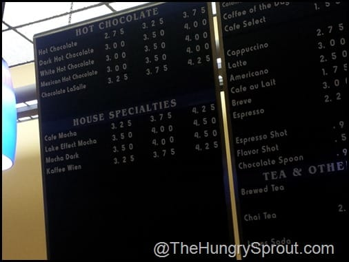 Chocolate Cafe Hot Chocolate menu