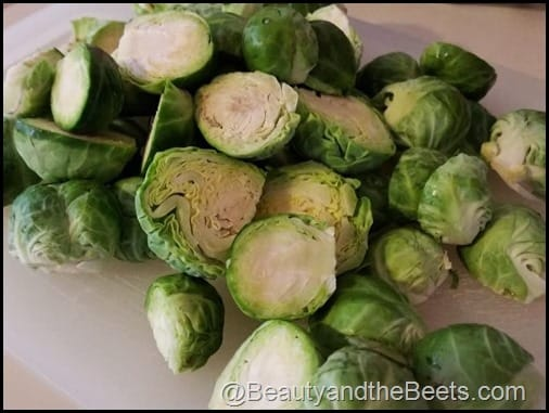Halved Brussel Sprouts Beauty and the Beets