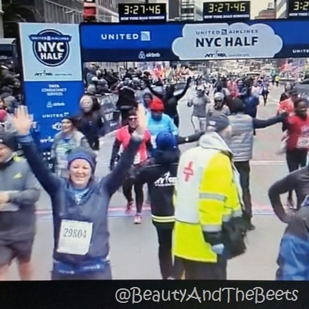 TV finish United Airlines NYC Half Marathon Beauty and the Beets