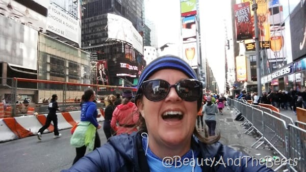 Times Square selfie United Airlines Half Marathon Beauty and the Beets