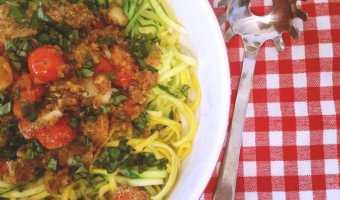 Squoodles and Zoodles with Roasted Tomatoes (Squash and Zucchini Noodles)
