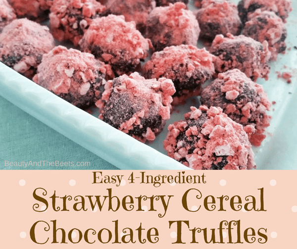 Easy 4-ingredient Strawberry Cereal Chocolate Truffles by Beauty and the Beets