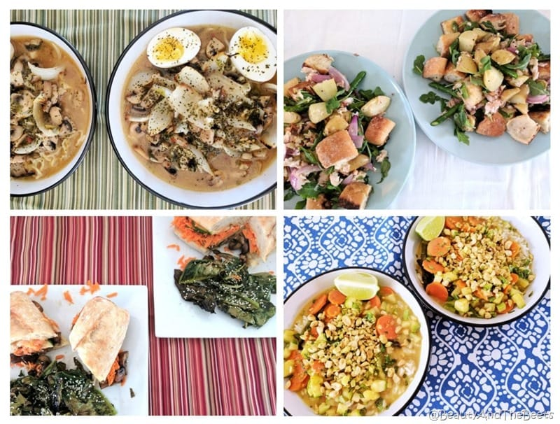 four meals a soup with noodles and eggs a salad with trout a sandwich with roasted gai lan and a squash curry with peanuts on a series of placemats