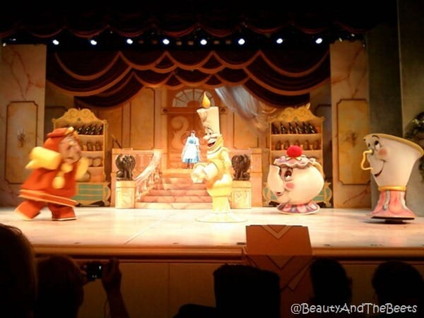 Cogsworth, Lumiere, Mrs Potts and Chip Enchanted Objects on the Beauty and the Beast stage