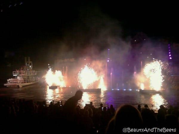 3 mini fireworks pyro on the river