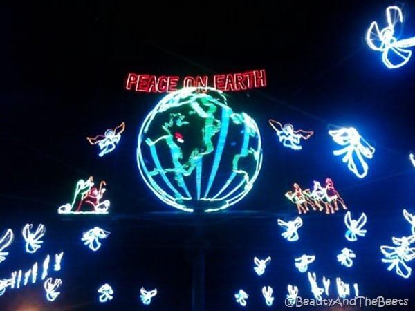 Peace on Earth and lighted world christmas lights
