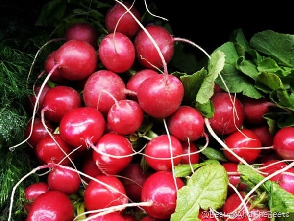 a bunch of bright pink radishes still on the vine
