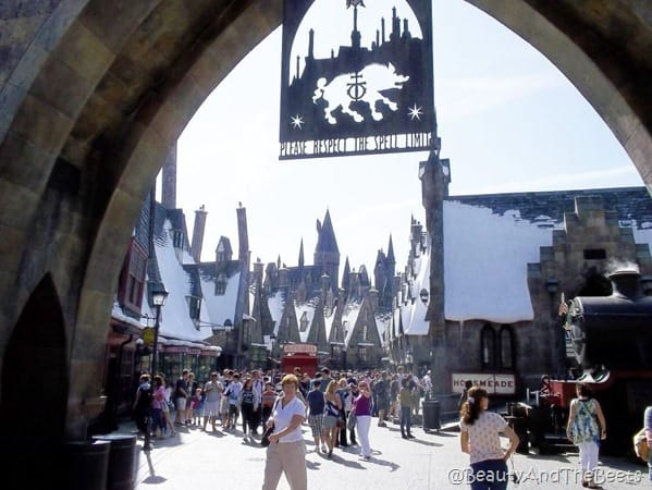 looking through the entrance of the Harry Potter land of Universal Studios