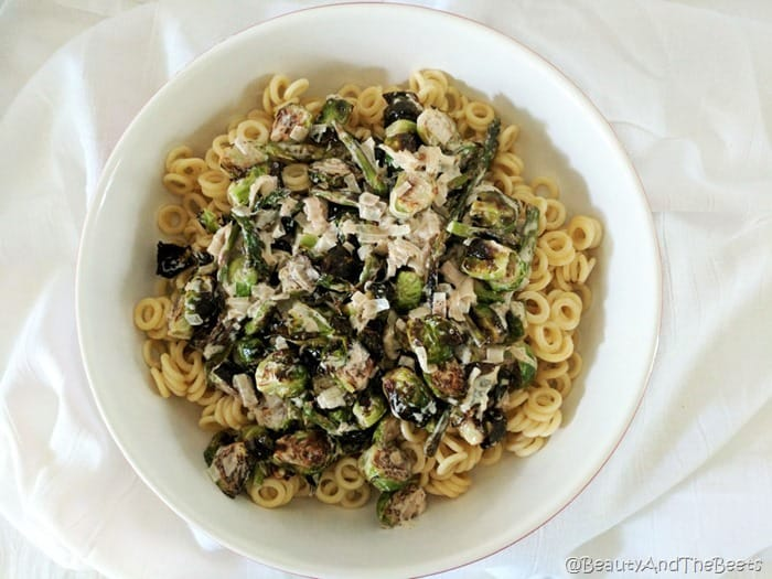 Creamy Brussels Sprouts and Asparagus Pasta Beauty and the Beet 1