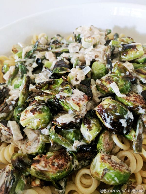 Creamy Brussels Sprouts and Asparagus Pasta Beauty and the Beet 2s