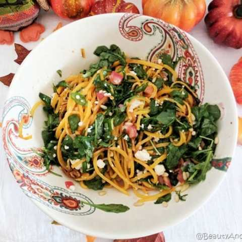 Butternut Squash Arugula Salad with Goat Cheese and Carrot-Ginger Vinaigrette