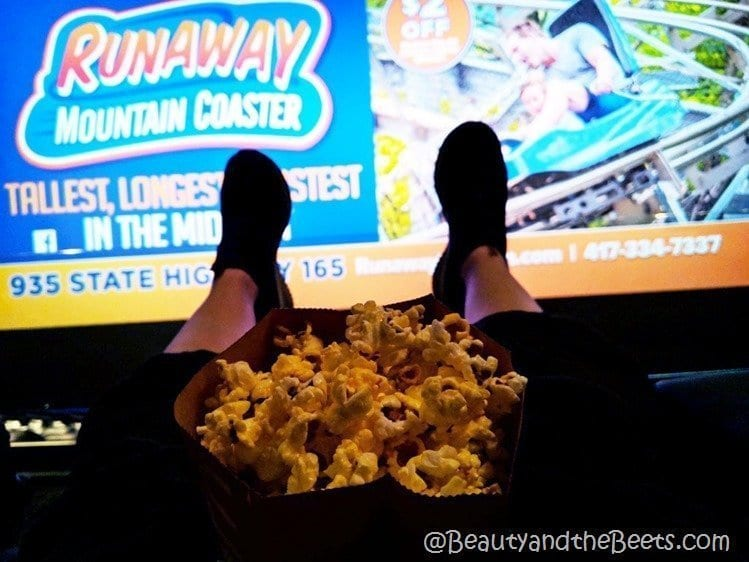 feet and popcorn Branson IMAX Theater Beauty and the Beets