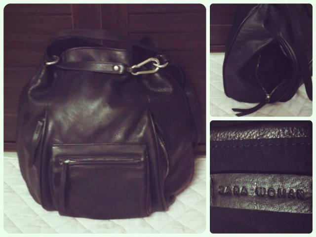 Zara Leather Bucket Bag With Front Pocket