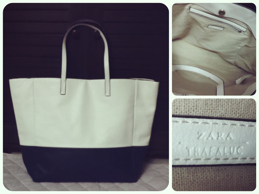 My Zara Handbag Collection Beauty And The Being Double Strap Bag Dual Tone Oversized Tote White Blue