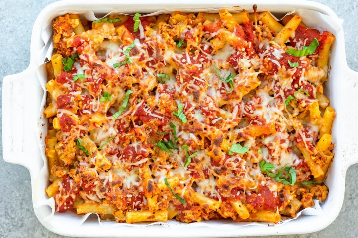 protein packed baked ziti in casserole dish