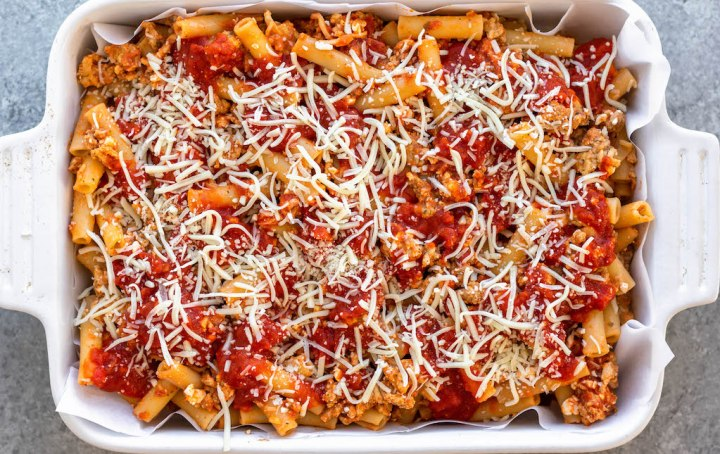 baked ziti in a casserole dish uncooked