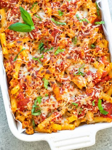 gluten free baked ziti cooked in a casserole dish