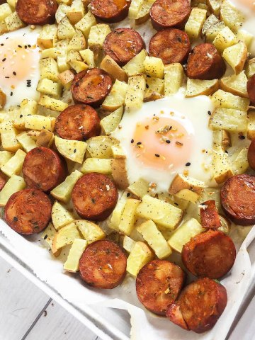 sweet potato, eggs and chorizo on a sheet pan
