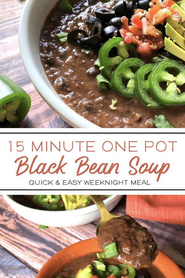 This 15 minute black bean soup is perfect for busy weeknights. It's a healthy meal prep option that is so tasty the whole family will love it! #healthyrecipes