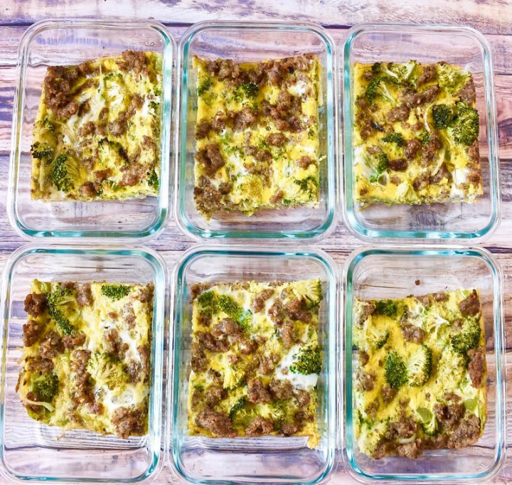 whole30 casserole placed in 6 meal prep containers