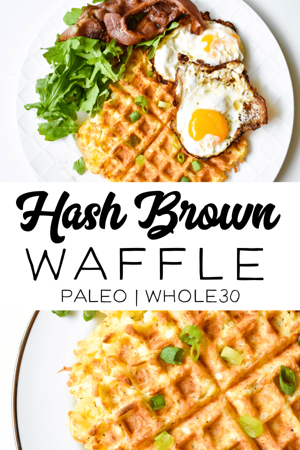 This hash brown waffle is the perfect addition to your breakfast! This recipe is so delicious and made with healthy ingredients that are whole30 compliant and paleo. And with only a few ingredients you have a tasty hash brown waffle in just 15 minutes! #hashbrownwaffle #whole30 #paleo