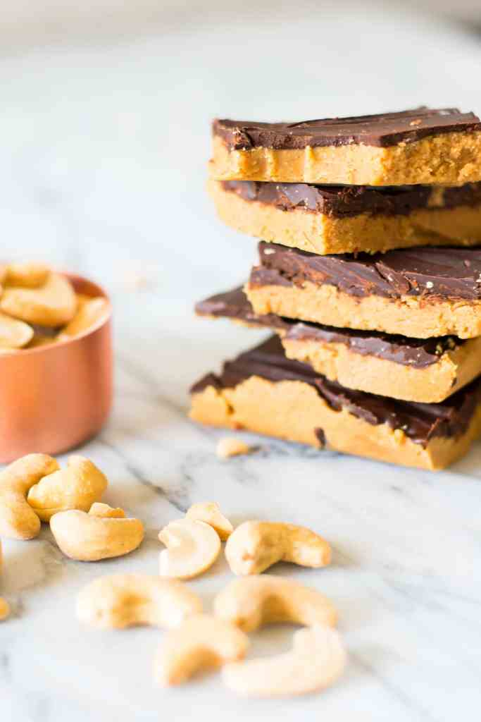 paleo cahsew butter chocolate bars