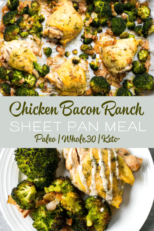 This chicken bacon ranch sheet pan meal is perfect for busy weeknights. This quick and easy recipe is low carb, paleo and Whole30 compliant. The blend of flavors is perfect for the whole family #sheetpanmeals #paleo #whole30 #lowcarb #keto