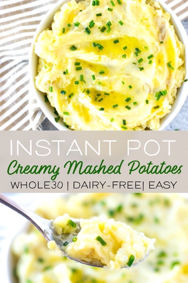 This easy recipe for Instant Pot mashed potatoes is the best side dish! This recipe is dairy-free and Whole30 compliant. Made with Yukon Gold potatoes, ghee, bone broth and a little garlic flavor, these potatoes are creamy, delicious, healthy and so simple to make! #instantpot #whole30 #mashedpotatoes